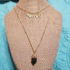 Hannah 2 tier gold tone necklace
